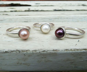 Stacking Silver And Pearl Ring