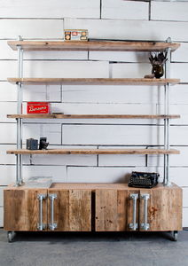 Jo Industrial Sideboard Unit With Shelves Above - home decorating