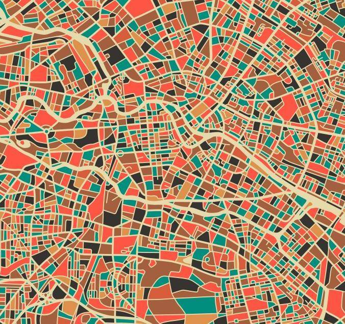 Berlin germany map art print by monde mosaic for Product design berlin