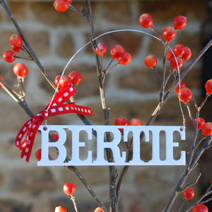 Personalised Name Or Year Christmas Tree Decoration - hanging decorations