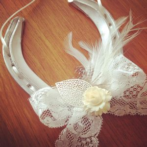 Camille Ivory Lace And Flower Lucky Wedding Horseshoe