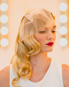 Bethany Tulle And Birdcage Short Veil In Blush Tulle - head pieces