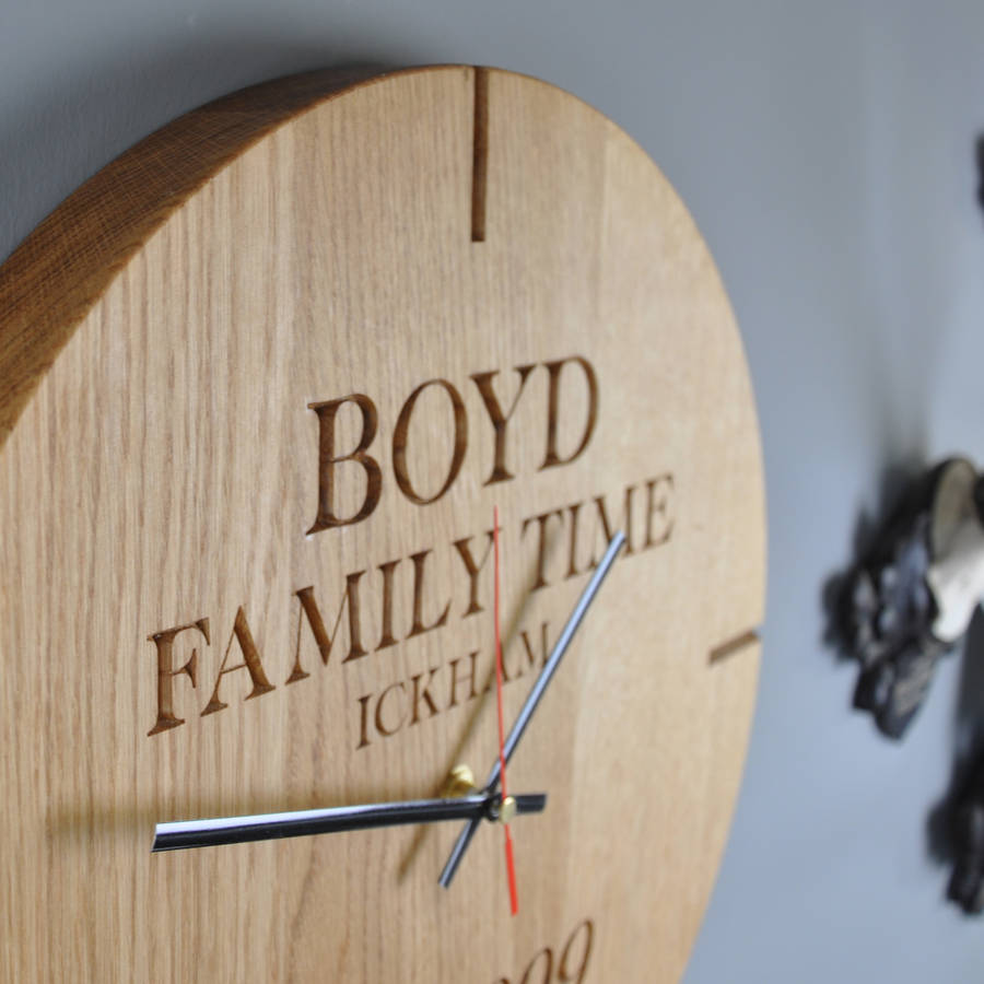 Large Personalised Wooden Oak Wall Clock By The Rope Company