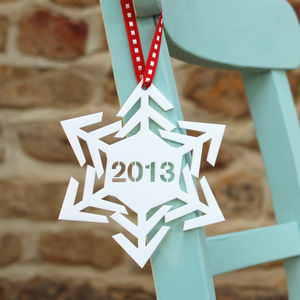 Personalised Year Snowflake Christmas Tree Decoration - wedding favours