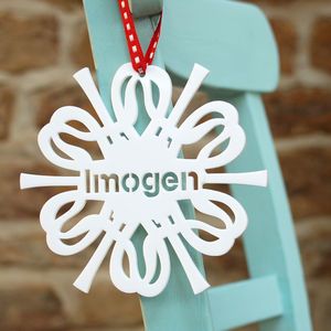 Personalised Name Snowflake Tree Christmas Decoration - wedding favours
