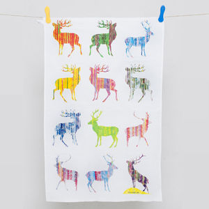 Multi Stag Tea Towel - kitchen linen