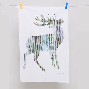 Single Stag Tea Towel - kitchen linen