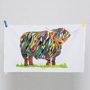 Bright Highland Cow Tea Towel - kitchen