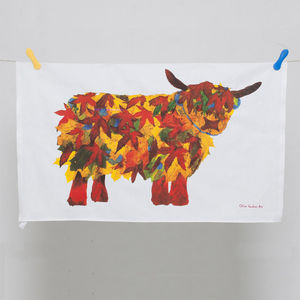 Leaf Highland Cow Tea Towel - kitchen