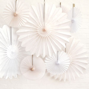 White And Ivory Wedding Paper Fan Collection