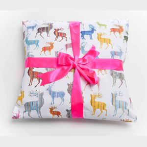 Two Sheets Of Multi Coloured Stag Wrapping Paper - ribbon & wrap