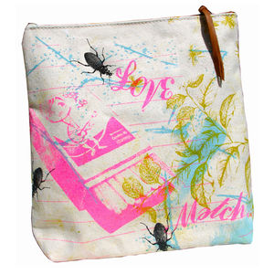 Reclaimed Canvas Cosmetic Bag Love - make-up bags