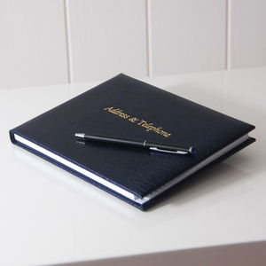 Dark Blue Grained Leather Address Book