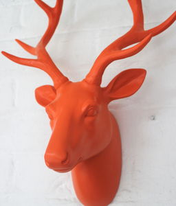 Orange Stag Head - children's room