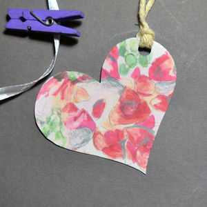 Floral Pattern Heart Shaped Gift Tag