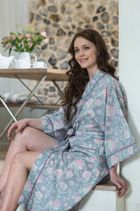 Cotton Kimono Dressing Gown In French Fleurs Dove Grey
