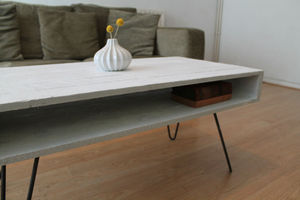 Solid White Coffee Table With Steel Hairpin Legs - furniture