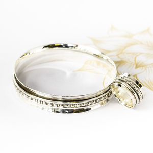Maharani Silver Spinning Bangle And Ring Set - jewellery sets