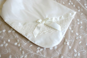 Silk And Lace Christening Shawl 'Olivia'