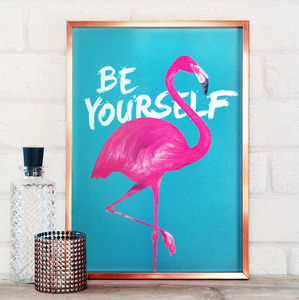 Be Yourself Flamingo Print - gifts for her