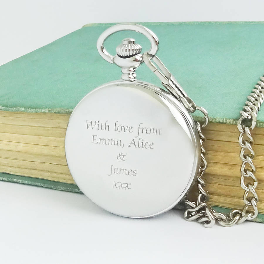 personalised dad pocket watch engraved message by wild life personalised dad pocket watch engraved message