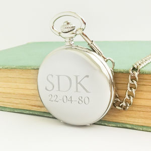 Personalised Pocket Watch With Engraved Initials
