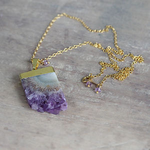 Amethyst And Gold Pendant Necklace - women's
