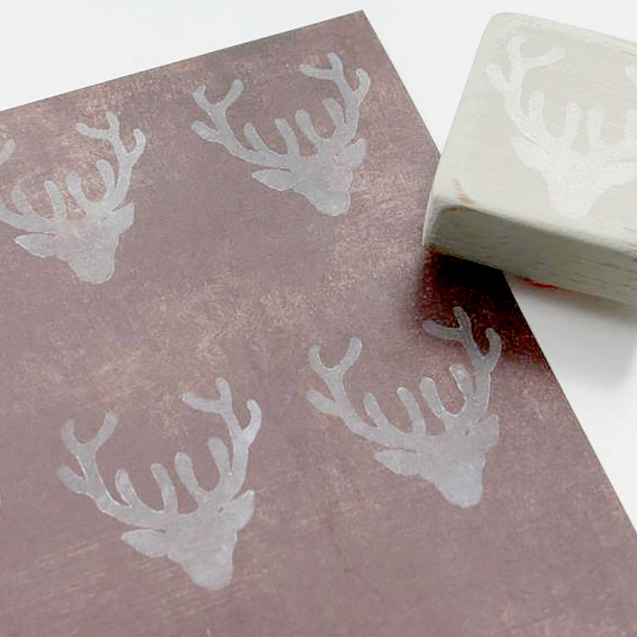 Stag hand carved rubber stamp by little store