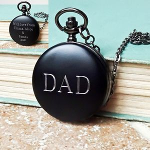 Personalised Pocket Watch For Dad With Engraved Message