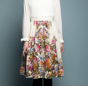 Woolen Skirt With Floral Print - skirts & shorts