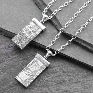 Silver Tipped Meteorite Necklace - men's jewellery