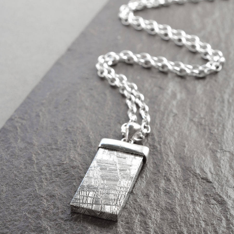 Silver tipped meteorite necklace by martha jackson sterling silver silver tipped meteorite necklace aloadofball Image collections