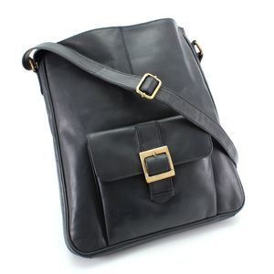 Navy Blue Leather Pocket Cross Body Bag