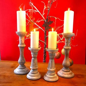 A Pair Of Wooden Candlesticks - votives & tea light holders