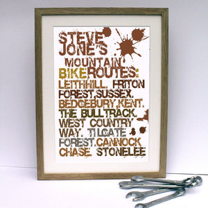 Mountain Biking Routes Mud Print Personalised