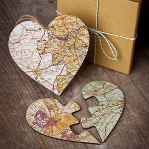 Personalised Jigsaw Map Heart - travel-inspired wedding gifts