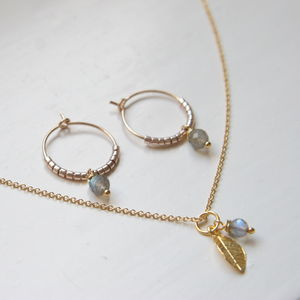 Gold And Labradorite Jewellery Set