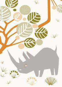 Rhino Paper Cut Look Card