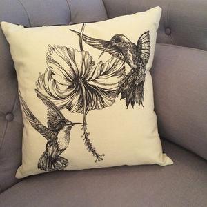 Hibiscus Hummingbirds Cushion
