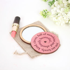 I Love You Because… Pocket Mirror - personalised gifts for her