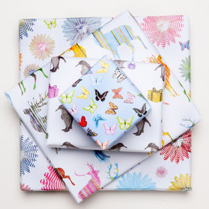 Set Of Three Sheets Of Wrapping Paper In Four Designs