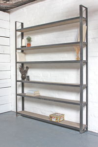 Tom Reclaimed Pine And Dark Steel Framed Shelving Unit - home decorating