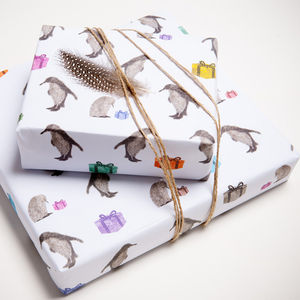 Two Sheets Of Penguin Wrapping Paper - wrapping paper