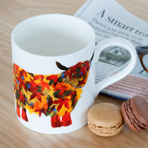 Leaf Highland Cow Fine Bone China Pop Mug