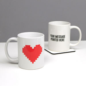 Personalised Geeky Heart Valentine's Day Mug - mugs