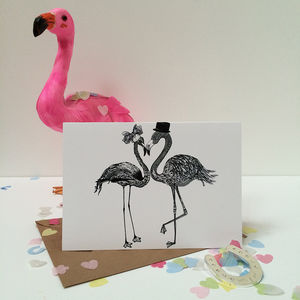 Wedding Flamingos Greeting Card