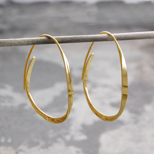 Gold Curl Sterling Silver Hoop Earrings - earrings