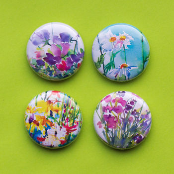 Watercolour Flowers Mini Magnet Set