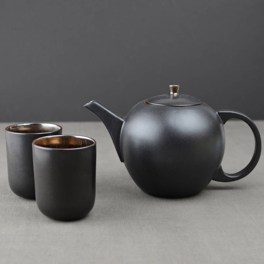 Bronze Ceramic Teapot And Cup Set By Nom Living