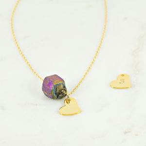 Semi Precious Natural Stone With Heart Charm Necklace - gifts for her